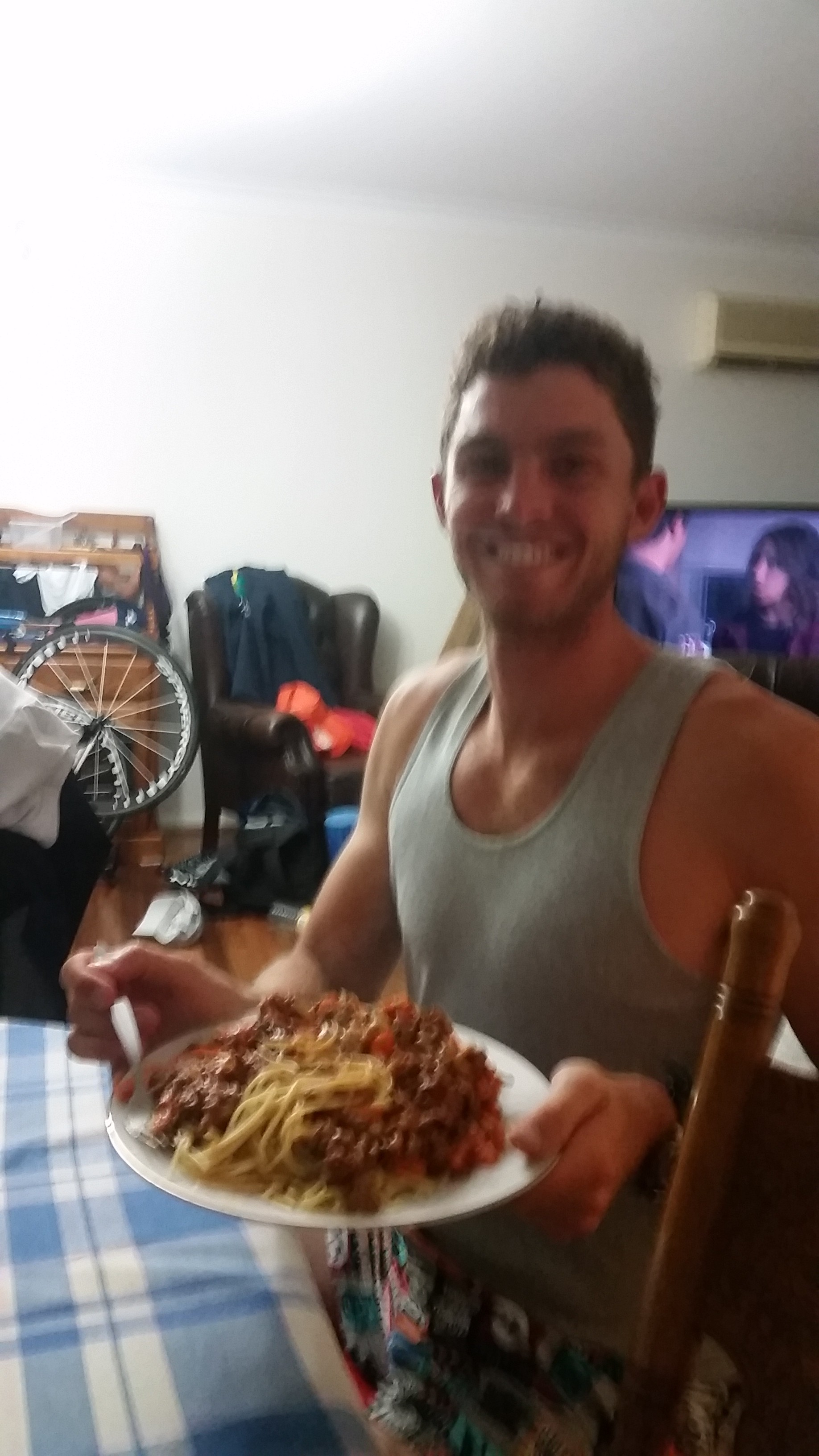 To finish this post, Mitch very happy with his dinner