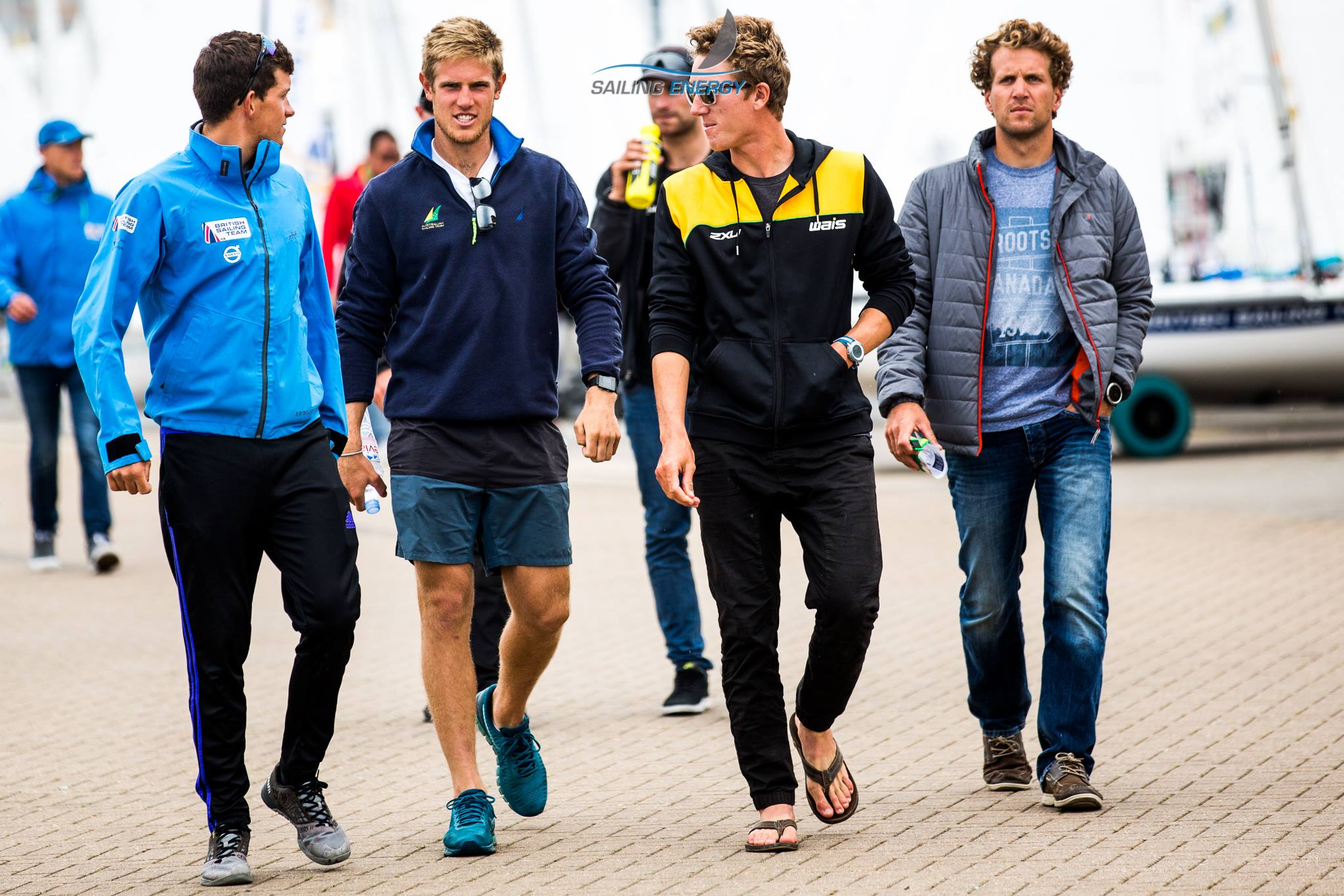 The lads walking around the boat park while we wait for wind